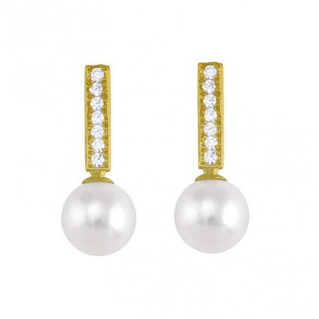 Cercei din aur 14k cu perle y diamante 75A0008