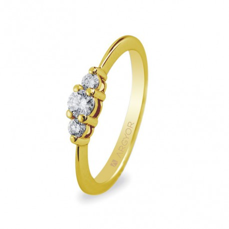 Inel de logodna 3 diamante 0.17 ct 14k 74A0009