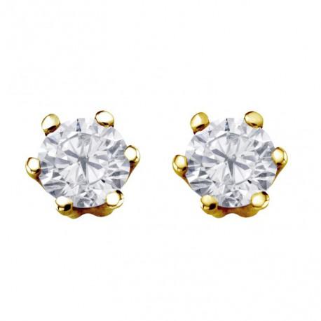 Cercei din aur 14k si diamante cu 4-6 gheare 75A0002