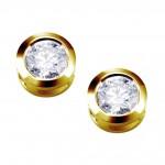 Cercei tip chatón din aur galben 14k si diamante 75A0001 | Argyor