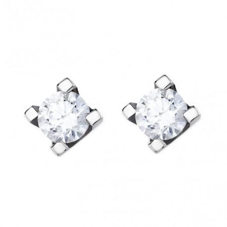 Cercei din aur alb 14k cu diamante cu 4 gheare 75B0009