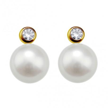 Cercei din aur 14k cu perle si diamante 75A0004