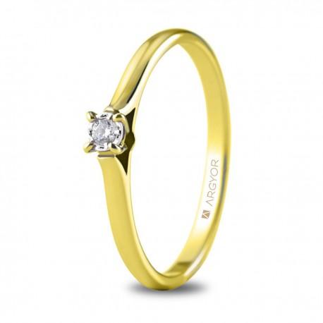 Inel de logodna aur galben cu 1 diamant 0.05ct 74A0502