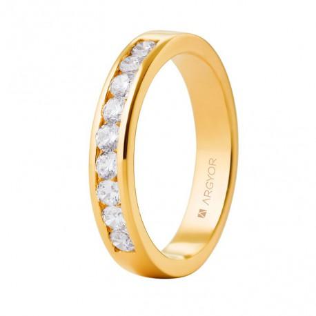 Inel de logodna aur galben de 18k cu 0,54ct si 9 diamante 74A0051