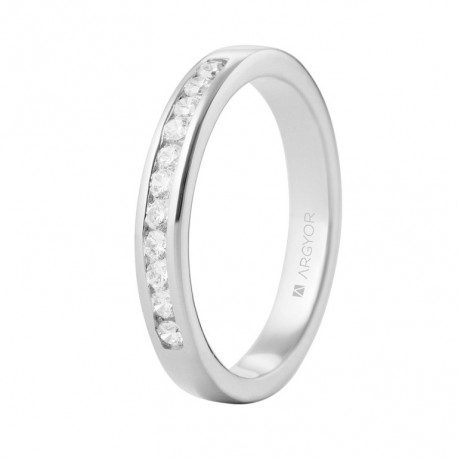 Inel de logodna aur alb de 18k si 0,27ct cu 11 diamante 74B0050