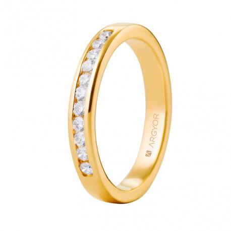 Inel de logodna aur galben de 18k si 0,27ct cu 11 diamante 74A0050