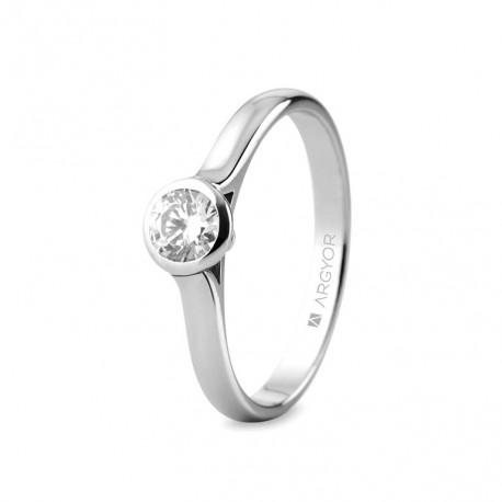 Inel de logodana aur alb de 18k cu 1 diamant 0,34ct 74B0043