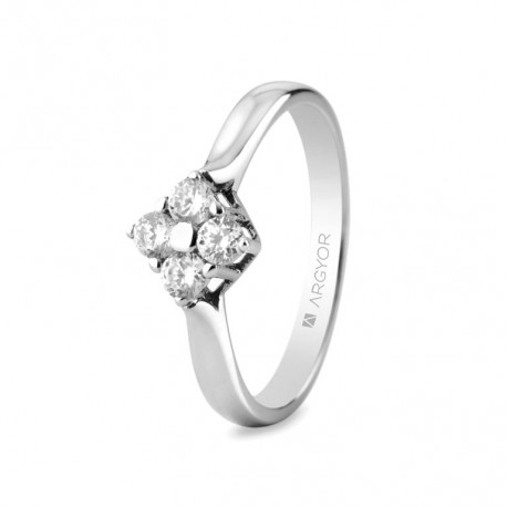 Inel de logodna aur alb de 18k si 0,30ct cu 4 diamante 0,30ct 74B0042