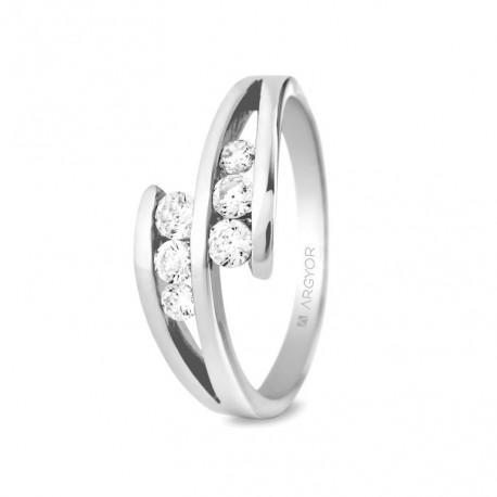 Inel de logodna aur alb de 18k si 0.352ct cu 6 diamante 74B0036