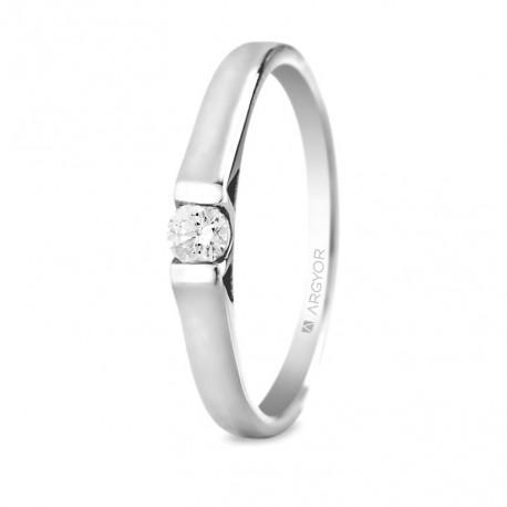 Inel de logodna aur alb de 18k cu 1 diamant 0.10 ct 74B0032