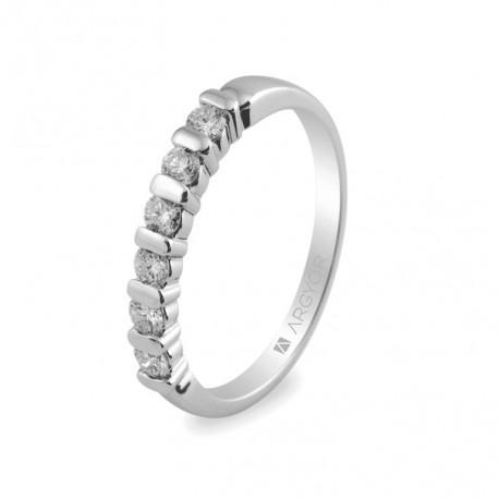 Inel de logodna din aur alb de 18k cu 0.39ct si 6 diamante 74B0021