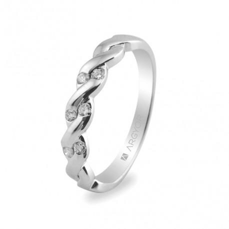 Inel de logodna din aur alb de 18k cu 0.21ct si 6 diamante 74B0020