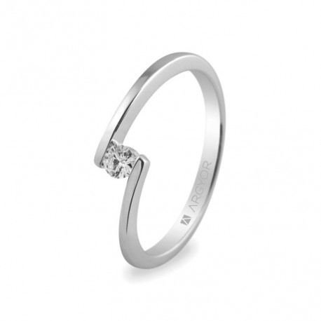 Inel de logodna din aur alb 18k si diamant 0.10ct 74B0013