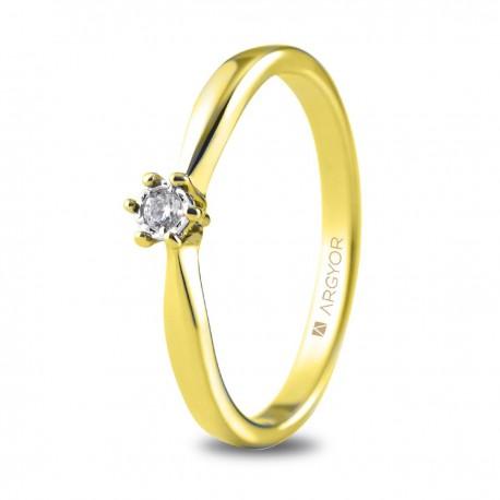 Inel de logodna din aur galben de 18k cu diamant 0,05ct 74A0512