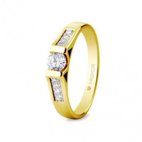Inel de logodna din aur 18k si 0,42ct cu 9 diamante 74A0046