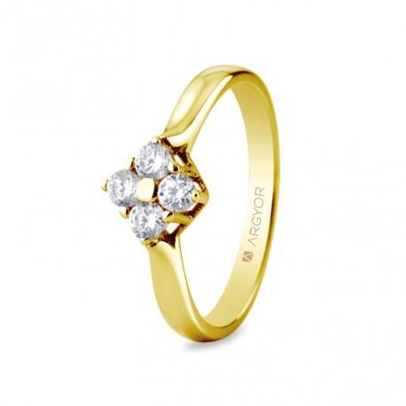 Inel de logodna din aur de 18k si 0,30ct cu 4 diamante 74A0042