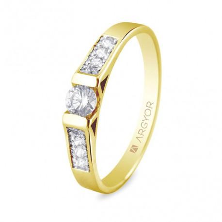 Inel de logodna 9 diamante taietura stralucitoare 0.28ct 74A0033