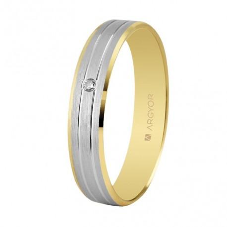 Verigheta de aur bicolor de 18k diamante 4mm 5240436D