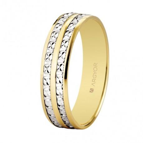 Verighete din aur de 18k bicolor cu efect de diamant 5mm 5250464