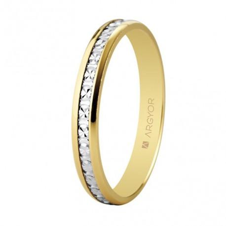 Verighete din aur de 18k bicolor cu efect de diamant 3mm 5230463
