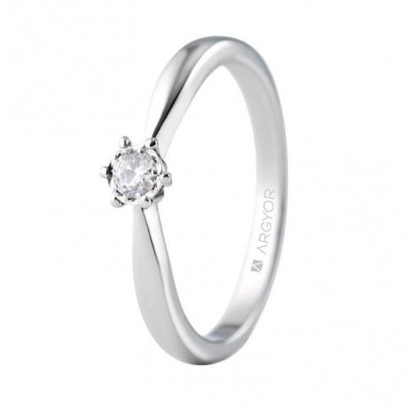 Inel de logodna aur alb cu 1 diamant 0.14ct 74B0514