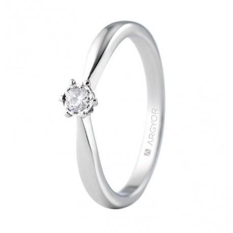 Inel de logodna aur alb cu 1 diamant 0.08ct 74B0513