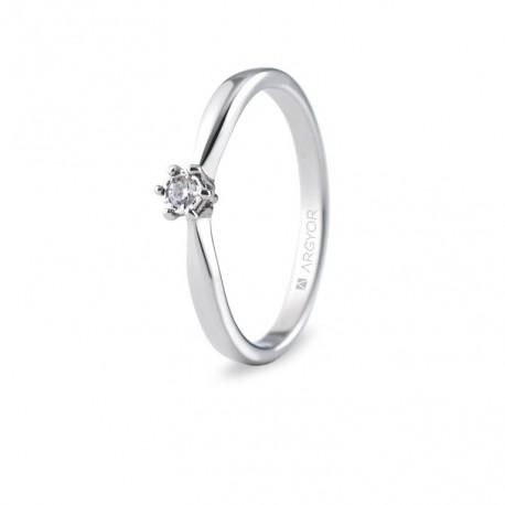 Inel de logodna aur alb 1 diamant 0.05ct 74B0512