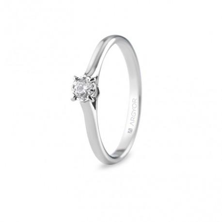 Inel de logodna din aur alb cu 1 diamant 0.14ct 74B0504