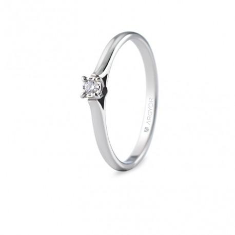 Inel de logodna aur alb cu 1 diamant 0.05ct 74B0502